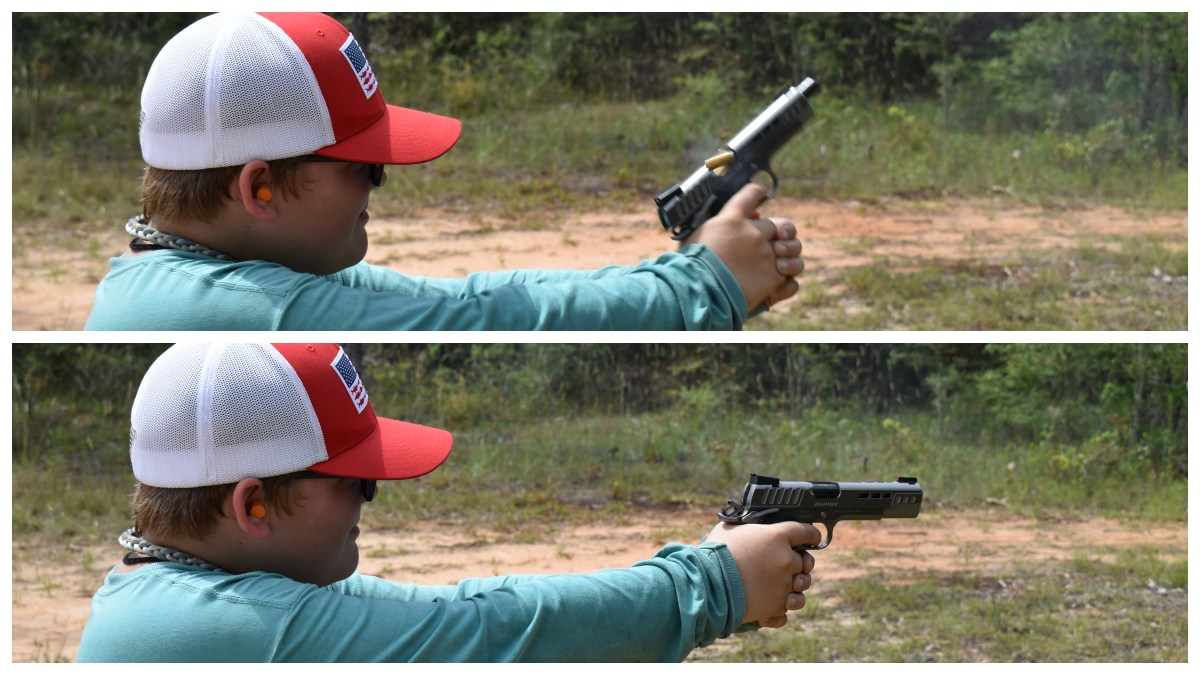 We even found that a 12-year-old could handle the gun with no issues, even in full-power 10mm JHP loads.
